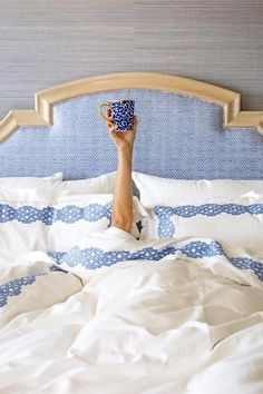 """But First, Coffee! - Every Time Reese Witherspoon Gave Us Major House Envy - Southernliving. """"Arm = Me; Mug = Draper James,"""" writes Reese on this adorable morning scene. We'll take the coffee cup — and the sheets, and the bed, and wallpaper."""