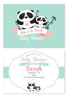 Baby Panda Invitations - I like these colors for the panda-themed invite, although it will have her picture on it