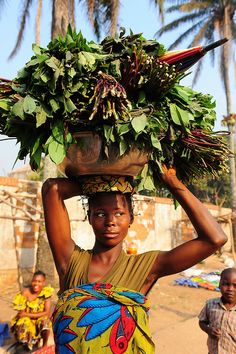 Africa |  Sights and Sounds.  Off to the market.  Vila Bacongo Market, Bangui,Central African Republic