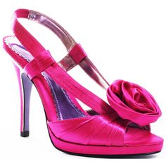 Luichiny Women's Gettin Hitched - Fuchsia Satin - size 5.5 (315 VEF) ❤ liked on Polyvore featuring shoes, sandals, formal, heels, pink, platform, slingback, stiletto heels, women and slingback sandals