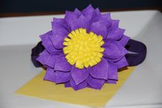 Purple Felt Dahlia Flower with Yellow Center by lilibirdbowtique, $13.99--beautiful can't wait to get some pictures back from the models