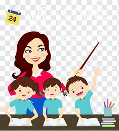 children and teacher graphic art Cartoon Teacher Graphic design Icon Teachers and students free png in 2020 Student cartoon School illustration Teacher cartoon