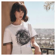 Take in the view with our VOLO top. Available now online & in-stores. Cruise Collection, White Shirts, Black Ruffle, White Tops, Parisian, Designer Dresses, Going Out, Dresses For Work, T Shirts For Women
