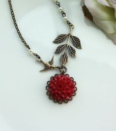 A Dark Red Chrysanthemum, Dahlia, Swallow Bird, Leaf, Pearls Necklace. Bridesmaid Necklace. Maid of Honor, Bridesmaid Gift Ideas. For Wife.