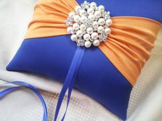 Royal Cobalt Blue and Orange Wedding Ring Bearer Pillow  www.allofyou.etsy.com