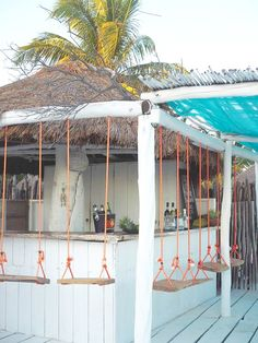 Beach Bar at Tulum Pool Bar, Outdoor Tiki Bar, Outdoor Ideas, Outdoor Cafe, Lounge Bar, Tiki Bar Decor, Outside Bars, Photo Deco, Casas Containers