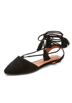 Black Suede Tassel Flats