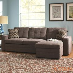 Gus Sectional Sofa with Tufts, Storage, and Pull Out Bed