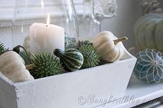 Fall mantel decoration with greens and whites and a small nautical twist at Songbirdblog