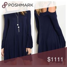 """New- Open Shoulder Navy Dress Long bell sleeve open shoulder jersey tunic dress. 94% Rayon 6% Spandex. Medium- full length 34"""", underarm to underarm 17"""", sleeves 21.5"""". Large- full length 34"""", underarm to underarm 17.5"""", sleeves 22"""". Please ask questions if you are not sure Dresses Long Sleeve"""