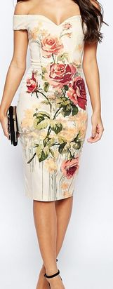 ASOS Vintage Floral Off The Shoulder Bardot Hitchcock Midi Pencil Dress Trendy Dresses, Casual Dresses, Short Dresses, Formal Dresses, Dress Outfits, Fashion Dresses, Boho Outfits, Dress Skirt, Bodycon Dress