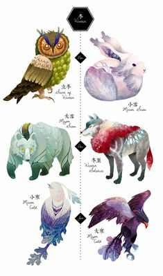 Colorful animals inspired by the season of Winter. Minor + Major Cold are definitely my favorite pair