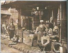 In the 'çarşı' (commercial district).  Late-Ottoman era, circa 1880.