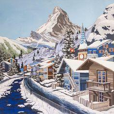 Views of Zermatt and the Matterhorn in Switzerland. Mountain Sketch, Mountain Drawing, Landscape Sketch, Landscape Paintings, Zermatt, Vintage Artwork, Vintage Posters, Ski Posters, Vintage Ski