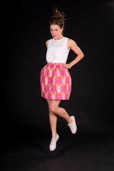 ZEBRA pink / orange / weiß taillierter Minirock