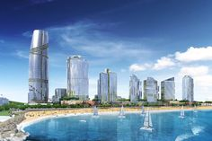 A look at the billion Durban waterfront project: The eThekwini executive committee is set to break ground on the Durban Point Waterfront project, which will see the city's coastal skyline changed by skyscrapers and high-rise developments. Ski Boats, Sports Clubs, City Break, Contemporary Architecture, Marina Bay Sands, Coastal, Skyline, Construction, Building