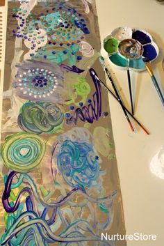 simple art ideas for kids - start by painting on tin foil and then use as a mono print