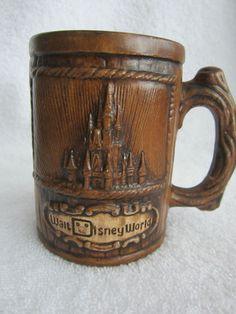 Walt Disney World Mug Stein Cup with Faux Wood Look Big Handle Hot Cocoa Coffee