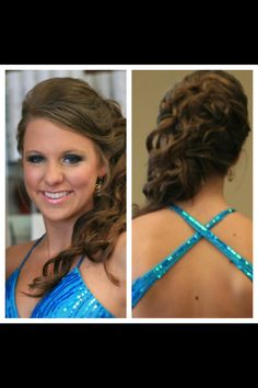 Elegant prom hair. Updo with front and back views.