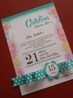 Invitación 15 años Quince Invitations, Princess Invitations, Birthday Invitations, Wedding Invitations, Luau, Tiffany Party, Sweet 15, Ideas Para Fiestas, Holidays And Events