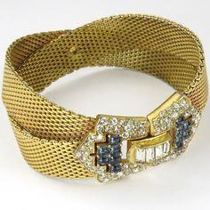 Boucher Crossed Gold Braids Baguettes Invisibly Set Sapphire Buckle Bracelet