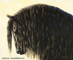 Black Friesian Horse painting