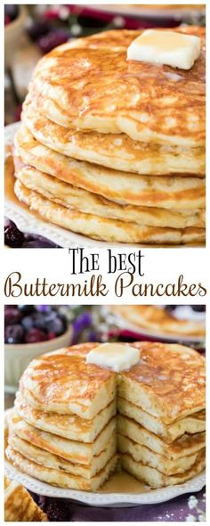 These really are the very BEST Buttermilk Pancakes! My family LOVED these! #breakfastrecipe #pancakerecipe via @sugarspunrun What's For Breakfast, Breakfast Pancakes, Breakfast Items, Breakfast Dishes, Breakfast Casserole, Yummy Breakfast Ideas, French Pancakes, Blueberry Breakfast, Best Breakfast Recipes