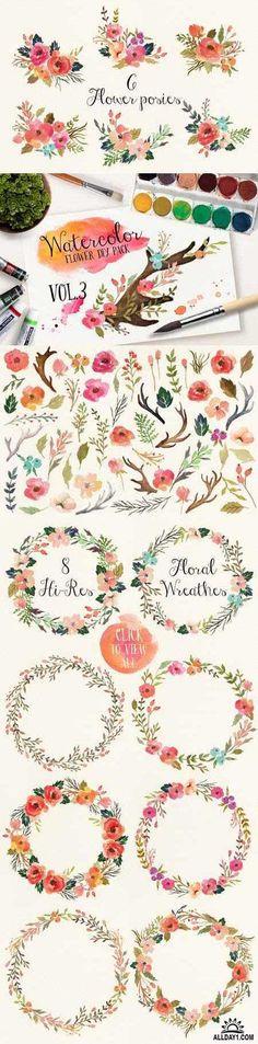 Watercolor Flower DIY Pack Vol.3 - Векторные цветы акварелью