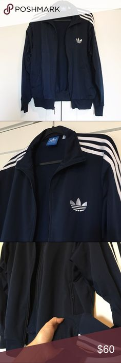 Classic Adidas Track Jacket Awesome men's Adidas track jacket in size L, can fit s women's L or XL best. Gently worn in excellent condition. I listed it twice under men's and then under women's. Can model if interested. Fits true to a men's L. No trades 💕 Adidas Jackets & Coats