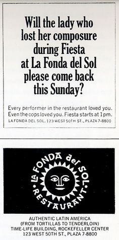 Alexander Girard, La Fonda del Sol, newspaper ads, 1960 (via Burning Settlers Cabin)