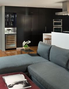 Luxurious Condo Interior For The Rich People : Cozy Living Room Grey Sectional Sofa Kings Road Condo