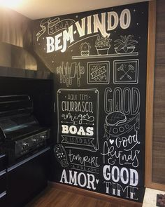 sorocaba called me to turn a wall of their stand into a cozy environment for their c Blackboard Wall, Kitchen Chalkboard, Chalk Wall, Chalkboard Lettering, Chalkboard Wedding, Chalk Board, Blackboards, Black Walls, Mural Art