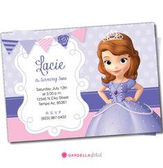 El primer cumpleaños de Sofía, Sofía la primera invitación, Sofía El Primero agradece las tarjetas, Disney Princess, bricolaje, Sofia The First Primeros de la magdalena