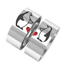 Penguin rings, penguins with heart band rings, silver band rings, 14k white gold band ring, couple band rings