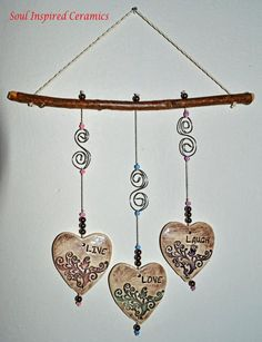 Ceramic Wind Chime Ceramic Mobile Live by SoulInspiredCeramics Ceramic Wall Art, Ceramic Pendant, Clay Projects, Clay Crafts, Mundo Hippie, Diy Wind Chimes, Love Wall Art, Hanging Hearts, Air Dry Clay