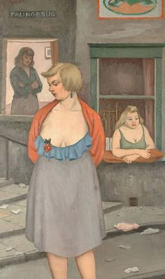 'Street Women by the Palingbrug, Antwerp' oil on canvas painting by Clifford Hall, created late 1950s to early 1960s.