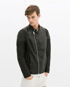 BIKER JACKET WITH PADDED SHOULDERS