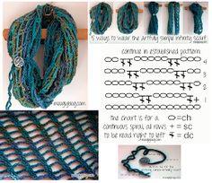 Patrones Crochet: Patron Crochet Bufanda Sin Fin Ingeniosa