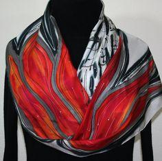 Hand Painted Silk Scarf. Red Black White by SilkScarvesColorado, $54.00