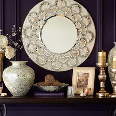 "Pier 1  $179.95 Gold/ivory/silver 31.50"" Dia x 1""D Engineered wood, capiz shell, mirror, glass Exclusively Pier 1 Imports"