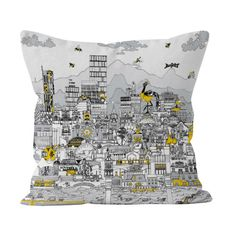 Manchester Skyline: Music Edition in Black, Grey, & Yellow - Soft and Snuggly Cushion - Meha Art Grey Yellow, Black And Grey, Gin Glasses, Stone Roses, Yellow Cushions, Famous Buildings, Fabulous Fabrics, Pet Portraits, All Art