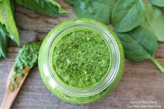 Easy Spinach Basil Pesto Recipe on twopeasandtheirpod.com