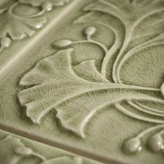 Detail of a 6x6 Ginkgo tile from Motawi Tileworks, a classic Arts and Crafts motif