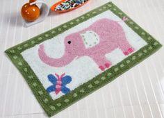 £9.99 Cotton Washable Tufted Pink Elephant Rug.