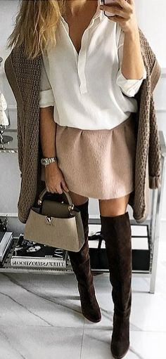 #fall #outfits White Blouse // Pink Skirt // Knee Length Boots // Tote Bag