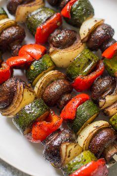 Vegetable Kebabs - The Clear Consuming Couple 2020 Grilled Vegetable Kabobs, Grilled Vegetable Recipes, Veggie Skewers, Vegetable Dishes, Grilled Vegetables, Veggie Kabob Marinade, Vegetables On The Grill, Grilled Food, Side Dishes For Bbq