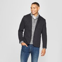 Men's Standard Fit Knit Blazer - Goodfellow & Co Deep Charcoal S, Size: Small, Deep Grey suits stylish suits fit suits combinations suits grey suits Combinations suits navy Mens Sherpa, Mens Fleece, Knit Blazer, Knit Jacket, Men Blazer, Casual Outfits, Men Casual, Smart Casual, Winter Outfits