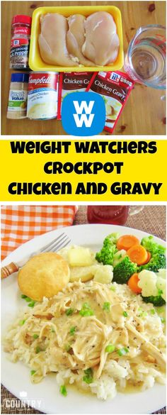 Weight watchers Crockpot Chicken and Gravy | free smart points recipes