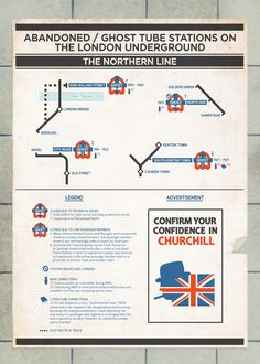 Abandoned London Tube Stations Poster Northern Line Places - Northern line map london