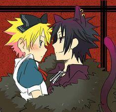 SasuNaru: Naruto as Alice and Sasuke as the Cheshire Cat Naruto Uzumaki Shippuden, Sasuke X Naruto, Sasunaru, Anime Naruto, Hinata, Naruto Comic, Naruto Cute, Naruto Funny, Narusasu